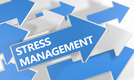 Stress Management text concept with blue and white arrows flying over a white background. 3D render illustration.