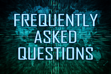 Frequently Asked Questions text concept on green world map background. 写真素材