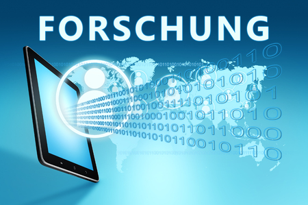 Forschung - german word for research - text with social icons and tablet computer on blue digital world map background. 3D Render Illustration. 写真素材