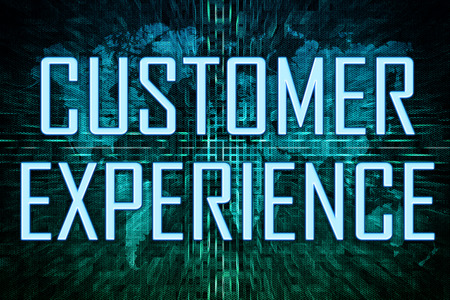 Customer Experience text concept on green world map background.