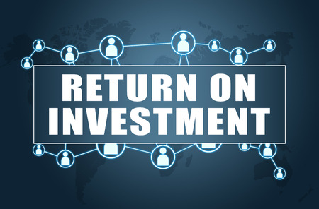 Return on Investment - text concept on blue background with world map and social icons. 写真素材