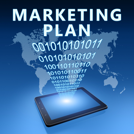 Marketing Plan - text with tablet computer on blue digital world map background. 3D Render Illustration. 写真素材