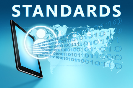 Standards - text with social icons and tablet computer on blue digital world map background. 3D Render Illustration.