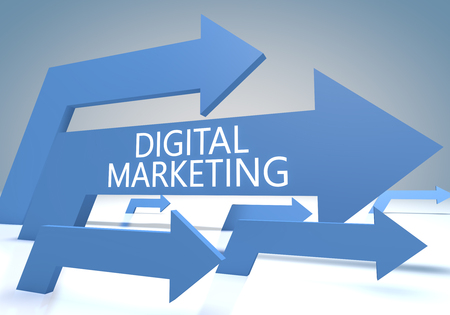 Digital Marketing - text concept with blue arrows on a bluegrey background - 3d render illustration 写真素材