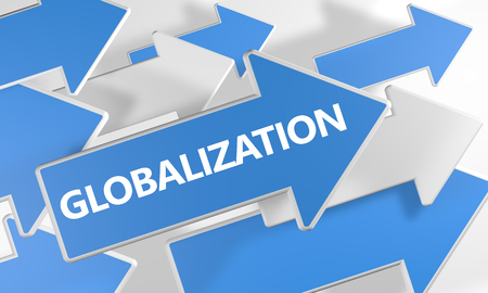 Globalization text concept with blue and white arrows flying over a white background. 3D render illustration.