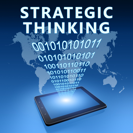 Strategic Thinking - text with tablet computer on blue digital world map background. 3D Render Illustration.