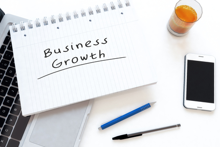 Business Growth - handwritten text in a notebook on a desk - 3d render illustration.