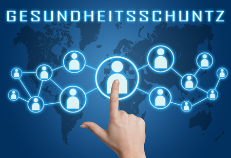 Gesundheitsschutz - german word for health protection or healthcare - text concept with hand pressing social icons on blue world map background.