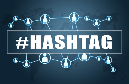 Hashtag - text concept on blue background with world map and social icons.