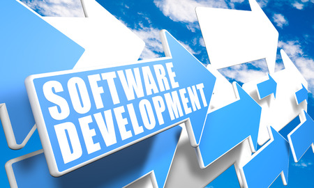 Software Development - text concept with blue and white arrows flying in a blue sky with clouds - 3d render illustration