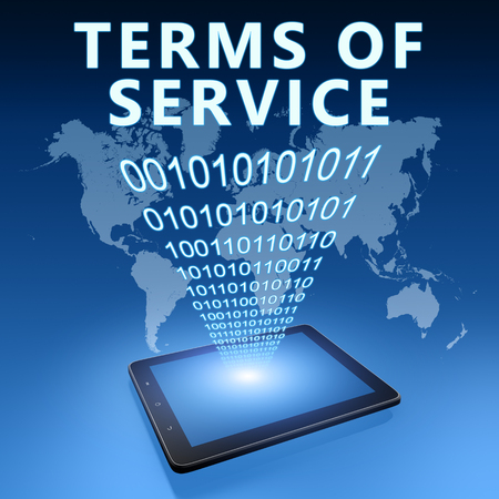 Terms of Service - text with tablet computer on blue digital world map background. 3D Render Illustration. 写真素材