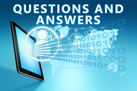 Questions and Answers - text with social icons and tablet computer on blue digital world map background. 3D Render Illustration.