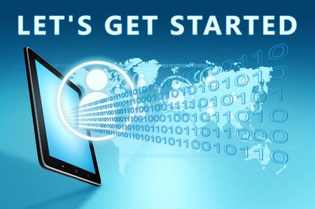 Iniziamo: testo con icone social e computer tablet su sfondo blu della mappa del mondo digitale. Illustrazione di rendering 3D.