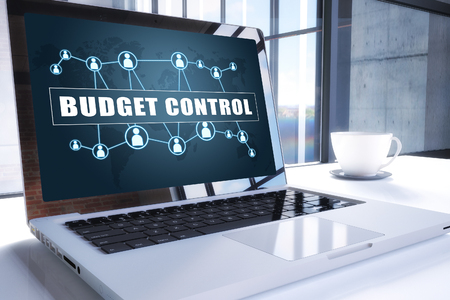 Budget Control text on modern laptop screen in office environment. 3D render illustration business text concept.