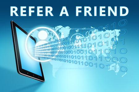 Refer a Friend - text with social icons and tablet computer on blue digital world map background. 3D Render Illustration. 写真素材