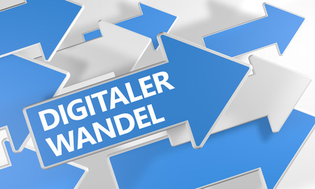 Digitaler Wandel - german word for digital change or digital business transformation text concept with blue and white arrows flying over a white background. 3D render illustration.