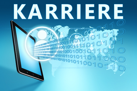 Karriere - german word for career - text with social icons and tablet computer on blue digital world map background. 3D Render Illustration.
