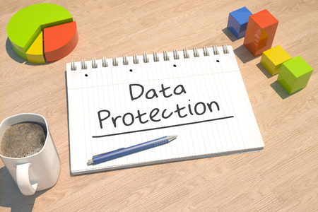 Data Protection - text concept with notebook, coffee mug, bar graph and pie chart on wooden background - 3d render illustration.
