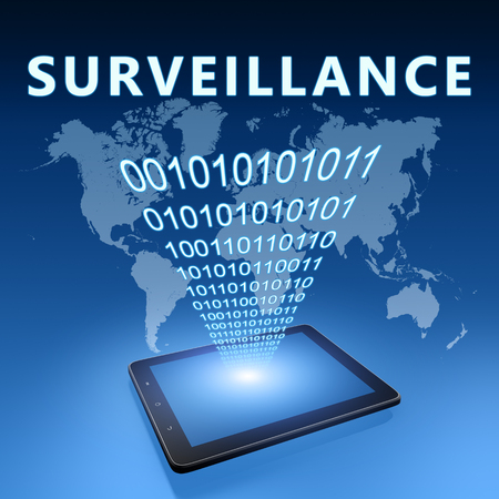 Surveillance - text with tablet computer on blue digital world map background. 3D Render Illustration.