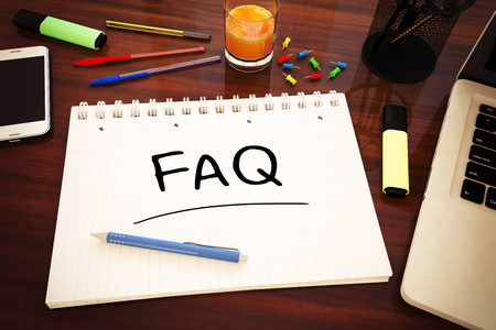 FAQ - Frequently Asked Questions - handwritten text in a notebook on a desk - 3d render illustration. 写真素材