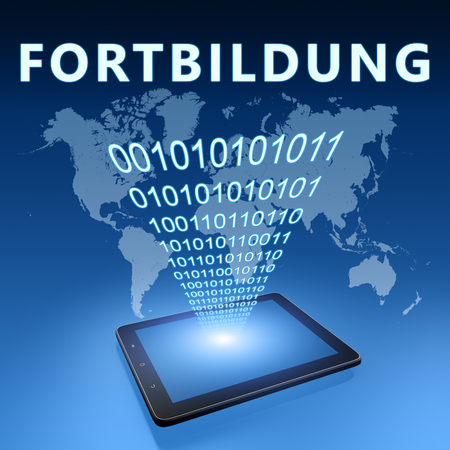 Fortbildung - german word for further education - text with tablet computer on blue digital world map background. 3D Render Illustration.