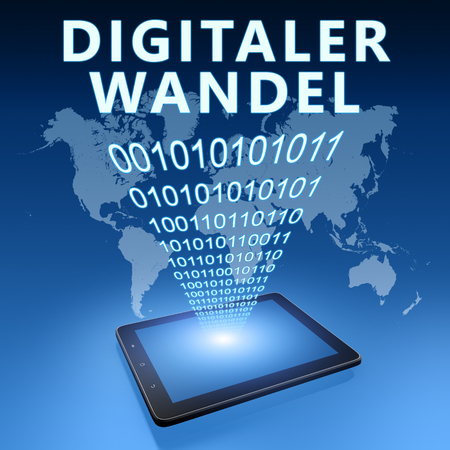 Digitaler Wandel - german word for digital change or digital business transformation - text with tablet computer on blue digital world map background. 3D Render Illustration.