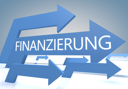 Finanzierung - german word for funding or financing  - text concept with blue arrows on a bluegrey background - 3d render illustration