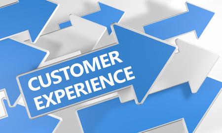 Customer Experience text concept with blue and white arrows flying over a white background. 3D render illustration. 写真素材