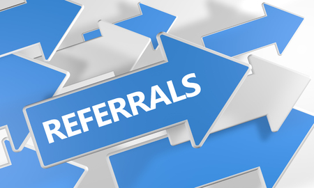 Referrals text concept with blue and white arrows flying over a white background. 3D render illustration. Stock Photo