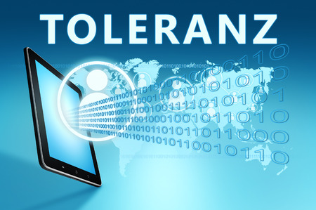 Toleranz - german word for tolerance - text with social icons and tablet computer on blue digital world map background. 3D Render Illustration. Stock Photo