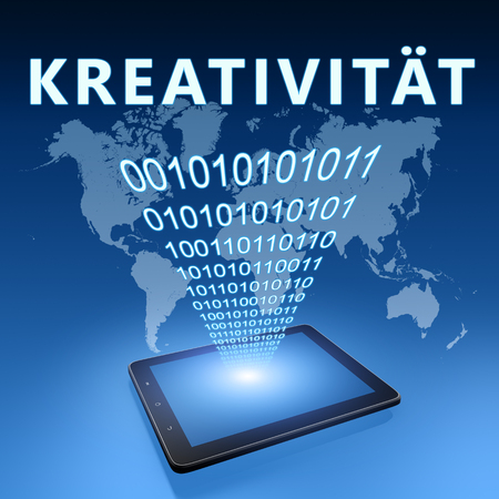 Kreativitaet - german word for creativity - text with tablet computer on blue digital world map background. 3D Render Illustration. 写真素材