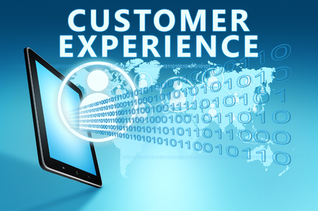 Customer Experience - text with social icons and tablet computer on blue digital world map background. 3D Render Illustration.