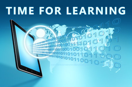 Time for learning - text with social icons and tablet computer on blue digital world map background. 3D Render Illustration.