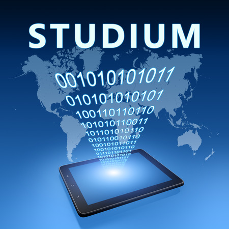 Studium - german word for studies or study - text with tablet computer on blue digital world map background. 3D Render Illustration.