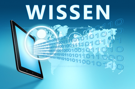 Wissen - german word for knowledge - text with social icons and tablet computer on blue digital world map background. 3D Render Illustration.