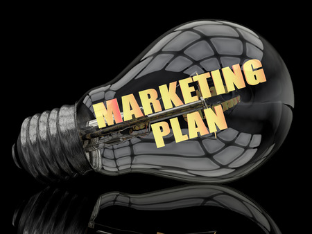 Marketing Plan - lightbulb on black background with text in it. 3d render illustration.