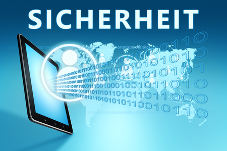 Sicherheit - german word for safety or security - text with social icons and tablet computer on blue digital world map background. 3D Render Illustration. 写真素材