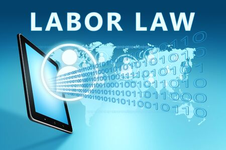 Labor Law - text with social icons and tablet computer on blue digital world map 写真素材 - 128059577