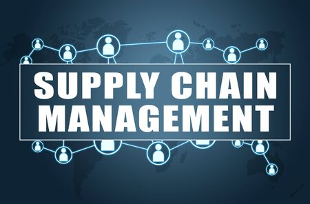 Supply Chain Management - text concept on blue  with world map and social icons. 写真素材