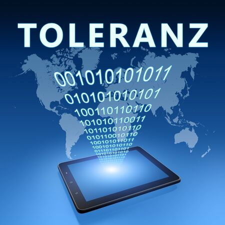 Toleranz - German word for tolerance - text with tablet computer on blue digital world map 写真素材 - 128059578