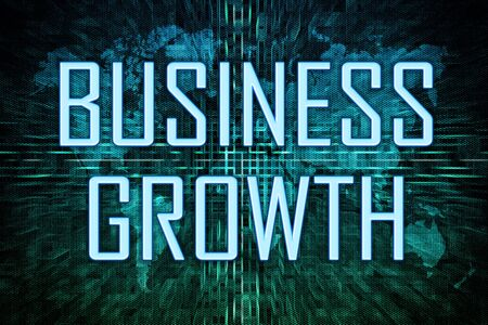Business Growth text concept on green world map