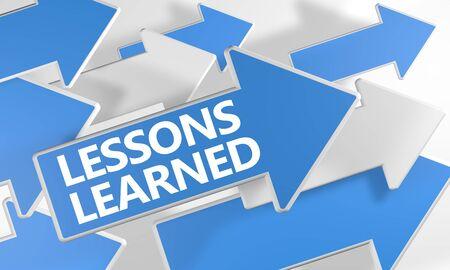 Concept de texte de leçons apprises avec des flèches bleues et blanches survolant un blanc