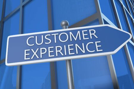 Customer Experience - 3d render text with street sign in front of office building.