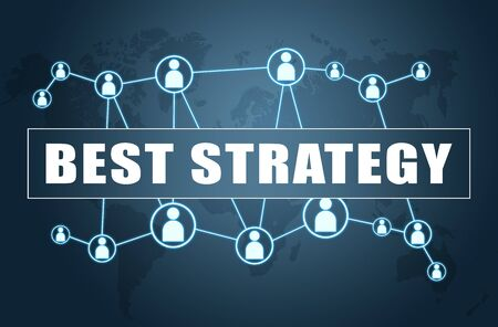 Best Strategy - text concept on blue  with world map and social icons. 写真素材 - 128059589