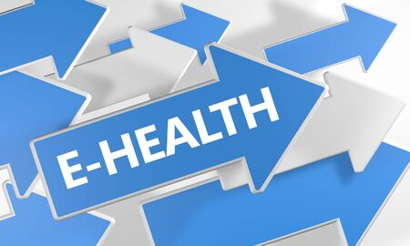 E-Health text concept with blue and white arrows flying over a white
