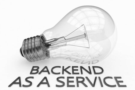 Backend as a Service - light bulb on white  with text under it.