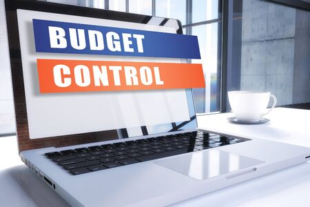 Budget Control - text on modern laptop screen in office environment. 写真素材
