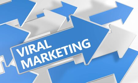 Viral Marketing text concept with blue and white arrows flying over a white