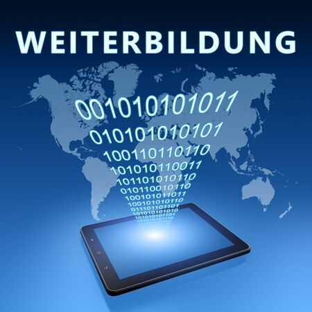 Weiterbildung - german word for further education - text with tablet computer on blue digital world map