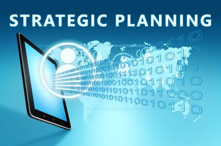 Strategic Planning - text with social icons and tablet computer on blue digital world map 写真素材 - 128060149